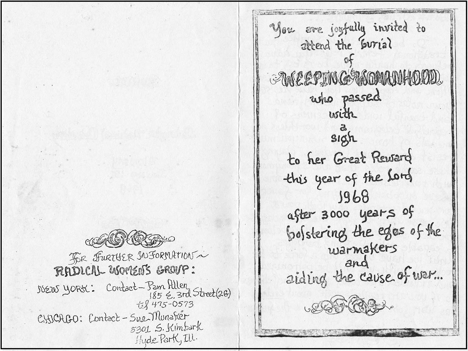 The burial of traditional womanhood january 15 1968 meeting addresses for fledgling feminist groups in both new york and chicago appeared on the invitation firestone had been influential in stopboris Images